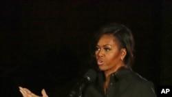 米歇爾奧巴馬在紐約中央公園舉行的環球公民節日上講話