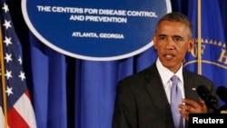 Tổng thống Mỹ Barack Obama phát biểu tại Trung tâm Kiểm soát và Phòng ngừa Dịch bệnh ở Atlanta, Georgia, 16/9/2014.