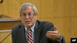 Erwin Chemerinsky, dean of the University California, Berkeley law school, discusses the issues of balancing free speech and public safety, at a legislative hearing Oct. 3, 2017, in Sacramento, Calif.