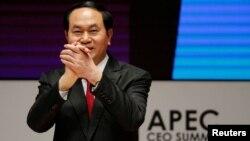 Chủ tịch Việt Nam Trần Đại Quang trong một cuộc họp của APEC ở Lima, Peru, hôm 19/11.
