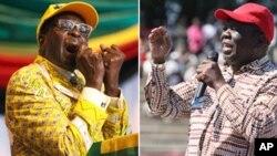 Zimbabwe President Robert Mugabe and MDC Leader Morgan Tsvangirai. Collage by Ntungamili Nkomo.