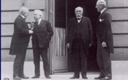 Left to right: Britain's Prime Minister David Lloyd George, Italy's Premier Vittorio Orlando, France's Premier Georges Clemenceau, and President Woodrow Wilson on June 28, 1919.