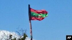 Bandeira da UNITA içada no Cachiungo, província do Huambo