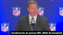 El Comisionado de la NFL Roger Goodell en conferencia de prensa el 18 de octubre de 2017