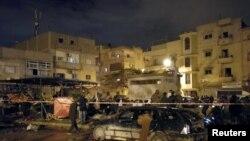 محل انفجار سه شنبه شب در بنغازی.