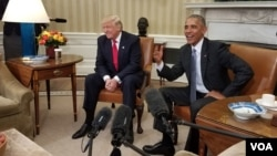 President Barack Obama meets with President-elect Donald Trump at the White House, Nov. 10, 2016. (Photo: J. Oni / VOA)