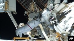 During the second spacewalk of the STS-131 mission, NASA astronauts Rick Mastracchio and Clayton Anderson (out of frame) unhooked and removed the depleted ammonia tank and installed a 1,700-pound replacement on the station's Starboard 1 truss (file photo)