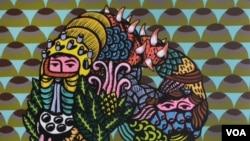 """""""Republik Tropis"""" atau versi Louis Vuitton """"Tropical Giant Square"""" hasil karya Eko Nugroho untuk koleksi scarf musim gugur dan dingin 2013 (VOA/Eko Nugroho-Louis Vuitton)."""