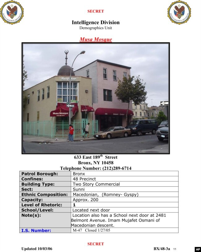 "FILE - A New York Police Department, Intelligence Division, Demographics Unit document titled ""Syrian Locations of Concern Report"" shows an entry on a mosque in the Bronx borough of New York."