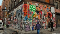 A popular spot for street art in New York's Greenwich village in 2007