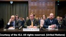 Представники Росії на слуханні у Міжнародному суді ООН в Гаазі: Роман Колодкін, Ілля Рогачов і Григорій Лук'янцев