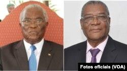 Les candidats à l'élection présidentielle : l'ancien président Manuel Pinto da Costa et le nouveau président Evaristo Carvalho.