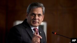 FILE - Pakistan's Foreign Ministry spokesman Nafees Zakaria briefs media at the Foreign Office in Islamabad, Pakistan, May 18, 2017.