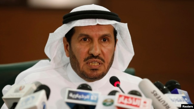FILE - Saudi Health Minister Abdullah al-Rabia, who has since been replaced, speaks during a news conference in Riyadh, April 20, 2014.