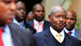 FILE - Uganda's President Yoweri Museveni (front R) arrives for the Heads of States and Governments International Conference on the Great Lakes Region in Nairobi, July 31, 2013.