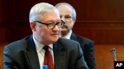 FILE - Russian Deputy Foreign Minister Sergei Ryabkov is seen during talks at United Nations offices in Geneva, Switzerland, Oct. 15, 2013. Ryabkov was to meet Friday with U.S. Undersecretary of State Thomas Shannon.