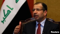 FILE - Salim al-Jabouri, speaker of Iraq's Council of Representatives, met Friday with President Barack Obama and Vice President Joe Biden in Washington and thanked the United States for its humanitarian contributions to his country.