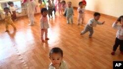 지난해 5월 북한 평양 보육원의 아이들. (자료사진)