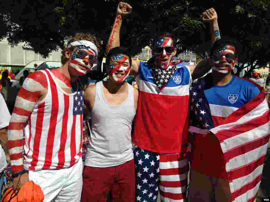 American fans ready to support their team in the match against Belgium, Salvador, Brazil, July 1, 2014. (Nicholas Pinault/VOA)