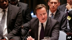 British Prime Minister David Cameron speaks during a United Nations Security Council meeting, Sept. 24, 2014, at U.N. headquarters in New York.