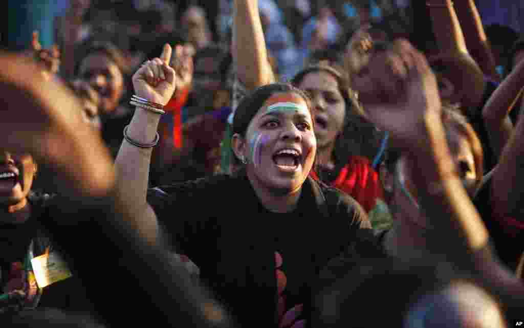 "Indian women shout slogans during an event to support the ""One Billion Rising"" global campaign in Hyderabad, India, Feb. 14, 2013."