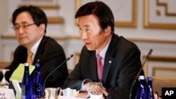 29일 미국 뉴욕에서 열린 미한일 외교장관 회담에서 윤병세 한국 외교부 장관이 발언하고 있다.