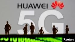 美国国务次卿凯斯·克拉奇呼吁巴西禁用华为5G技术,加入国际净网行动。图为华为5G网络标识 (路透社2019年3月30日资料照)