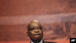 South African President Jacob Zuma pauses as he delivers a speech in Cape Town, South Africa, Aug. 31, 2012.