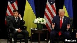 特朗普總統與烏總統烏克蘭總統澤連斯基9月25日見面資料照。