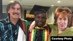 Godwell Nzou flanked by Professor Ellinor Burkett and social worker Dennis Gaboury.