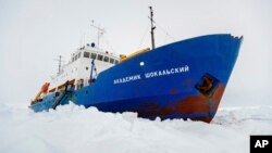 The Russian ship MV Akademik Shokalskiy is trapped in thick Antarctic ice 1,500 nautical miles south of Hobart, Australia, Dec. 27, 2013.