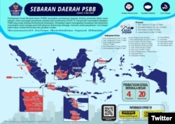 Update Sebaran Daerah di Indonesia yang memberlakukan Pembatasan Sosial Berskala Besar (PSBB) tanggal 12 Mei 2020. #BersatuLawanCovid19. (Foto: Twitter/@BNPB_Indonesia)