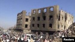 Razrušene zgrade u Jemenu
