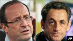 ທ່ານ Francois Hollande (ຂ້າງຊ້າຍ) ປະທານາທິບໍດີທີ່ຖືກເລືອກຕັ້ງໃໝ່ ແລະທ່ານ Sarkozy ທີ່ກໍາລັງປົກຄອງປະເທດຝຣັ່ງໃນປັດຈຸບັນ. ວັນທີ 7 ພຶດສະພາ 2012.