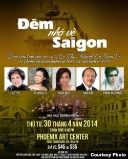 """Chương trình """"Đêm Nhớ về Saigon"""" ở San Jose dịp 30/4/2014 dự kiến có Khánh Ly và Lệ Thu tâm tình cùng khán giả nhưng hai ca sĩ đã rút khỏi chương trình (ảnh Bùi Văn Phú)"""