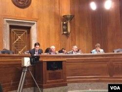 美國國會參議院外交委員會提名確認聽證會 (美國之音李逸華拍攝)
