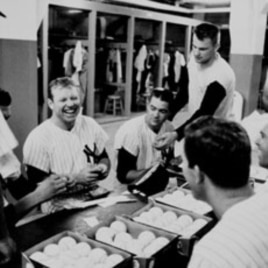 Mickey Mantle at the clubhouse