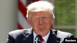 美国总统川普在白宫玫瑰园宣布美国将退出巴黎协定。(2017年6月1日)