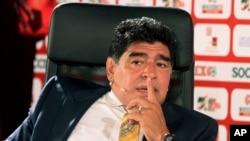 Maradona tại Diễn đàn Bóng đá Á châu ở Jodan, ngày 4 tháng 5, 2015.
