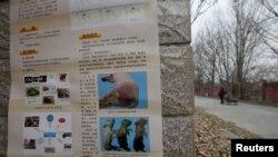 北京房山地區爆發非洲豬瘟後有關當局在豬場外貼出識別豬瘟病症的警告。 (2018年11月23日)