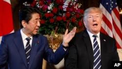 日本首相安倍晉三訪問美國星期二與總統川普會面。