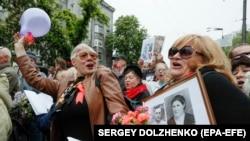 На улицах Киева в День победы над нацизмом. Киев. 9 мая 2019 г