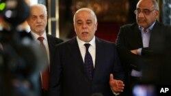 Пресс-конференция премьер-министра Ирака Хайдера аль-Абади перед вылетом в США, 13 апреля 2015