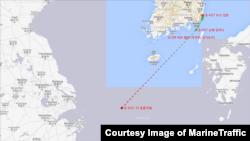 지난해 4월 8일부터 17일 사이 '피 파이어니어 ' 호의 항적. MarineTraffic 제공.
