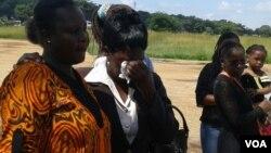 Itai Dzamara's wife, Sheffra, and the abducted pro-democracy activist's mother, Benhilda Dzamara, at a prayer meeting in Harare. (Photo: VOA)