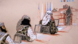 In this pool photo of a sketch by courtroom artist Janet Hamlin and reviewed by the U.S. Department of Defense, three of the five Sept. 11 defendants, from left, Ramzi Binalshibh, Walid bin Attash and the self-proclaimed terrorist mastermind Khalid Sheikh Mohammed, attend a hearing at the Guantanamo Bay U.S. Naval Base in Cuba, January 28, 2013.