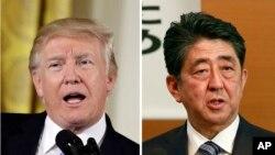 Tư liệu: Ảnh ghép TT Mỹ (trái), Thủ Tướng Nhật (phải), chụp tại Tokyo ngày 1/5/2017. (AP Photo/Shizuo Kambayashi, Evan Vucci, File)