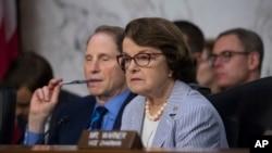2 manm komisyon sèvis sekrè a: Senatè Dianne Feinstein (D-Kalifòni) a dwat, ak Senatè Ron Wyden (D-Oregon) a goch.