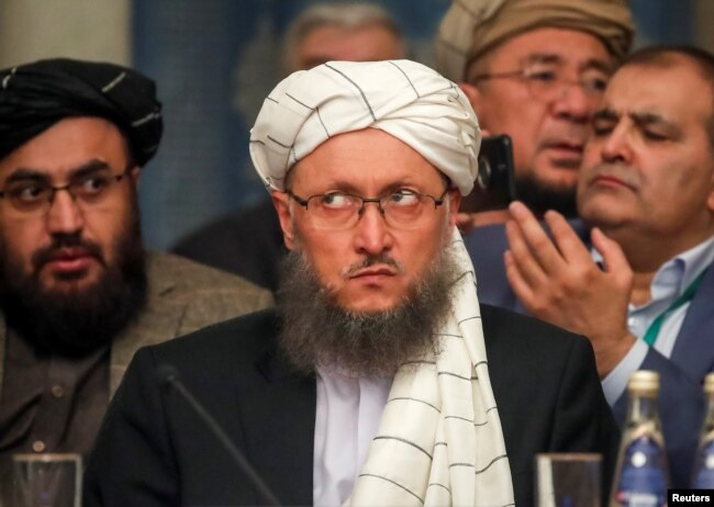 FILE - Deputy Head of Political Office of the Taliban Abdul Salam Hanafi attends a conference arranged by the Afghan diaspora in Moscow, Russia, Feb. 5, 2019.