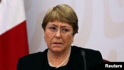រូបឯកសារ៖ ឧត្តមស្នងការសិទ្ធិមនុស្សអង្គការសហប្រជាជាតិលោកស្រី Michelle Bachelet ចូលរួមក្នុងកិច្ចប្រជុំមួយនៅប្រទេសម៉ិចស៊ិក កាលពីថ្ងៃទី០៨ ខែមេសា ឆ្នាំ២០១៩។